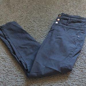 High waist gray skinny jeans